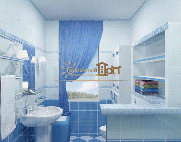 Дизайн голубой ванной комнаты фото