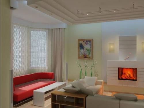 дизайн маленькой гостиной с камином