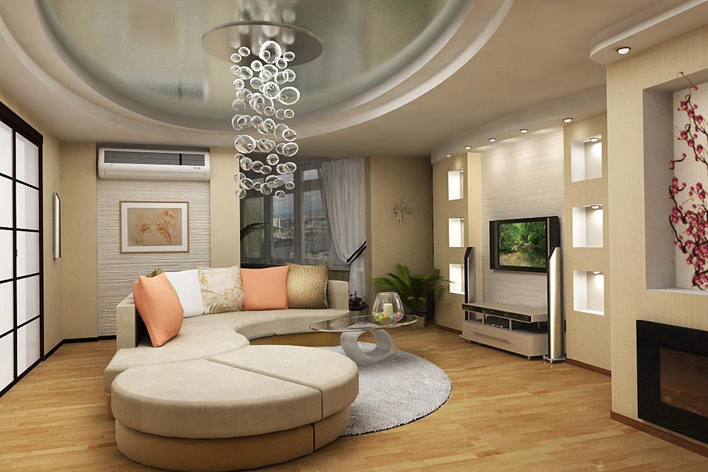 Дизайн проект гостиной с камином